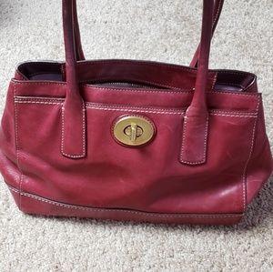 Coach Purse Vintage Leather Handbag Wine Cranberry